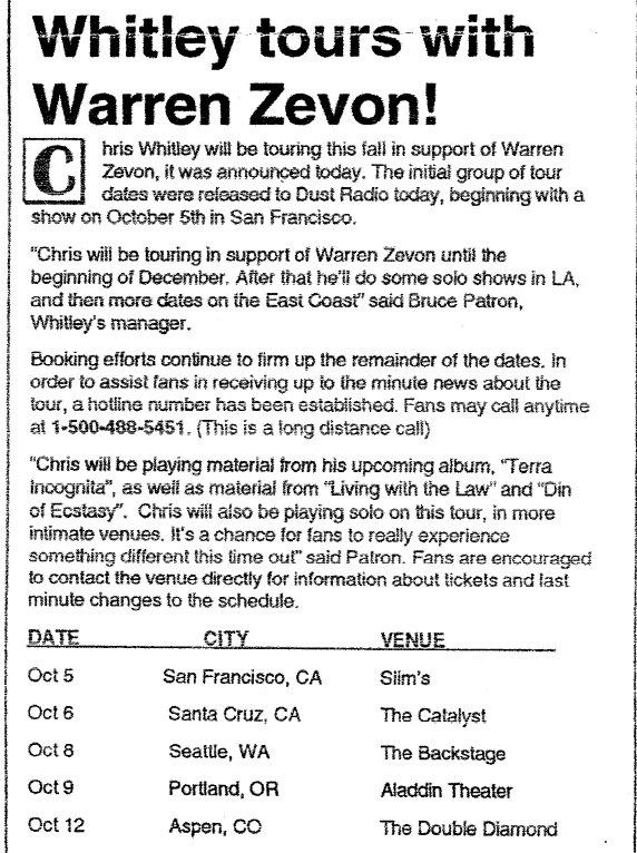Chris tours with Zevon