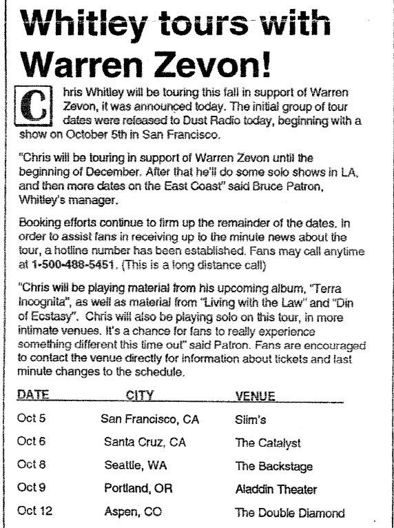 Chris tours with Zevon